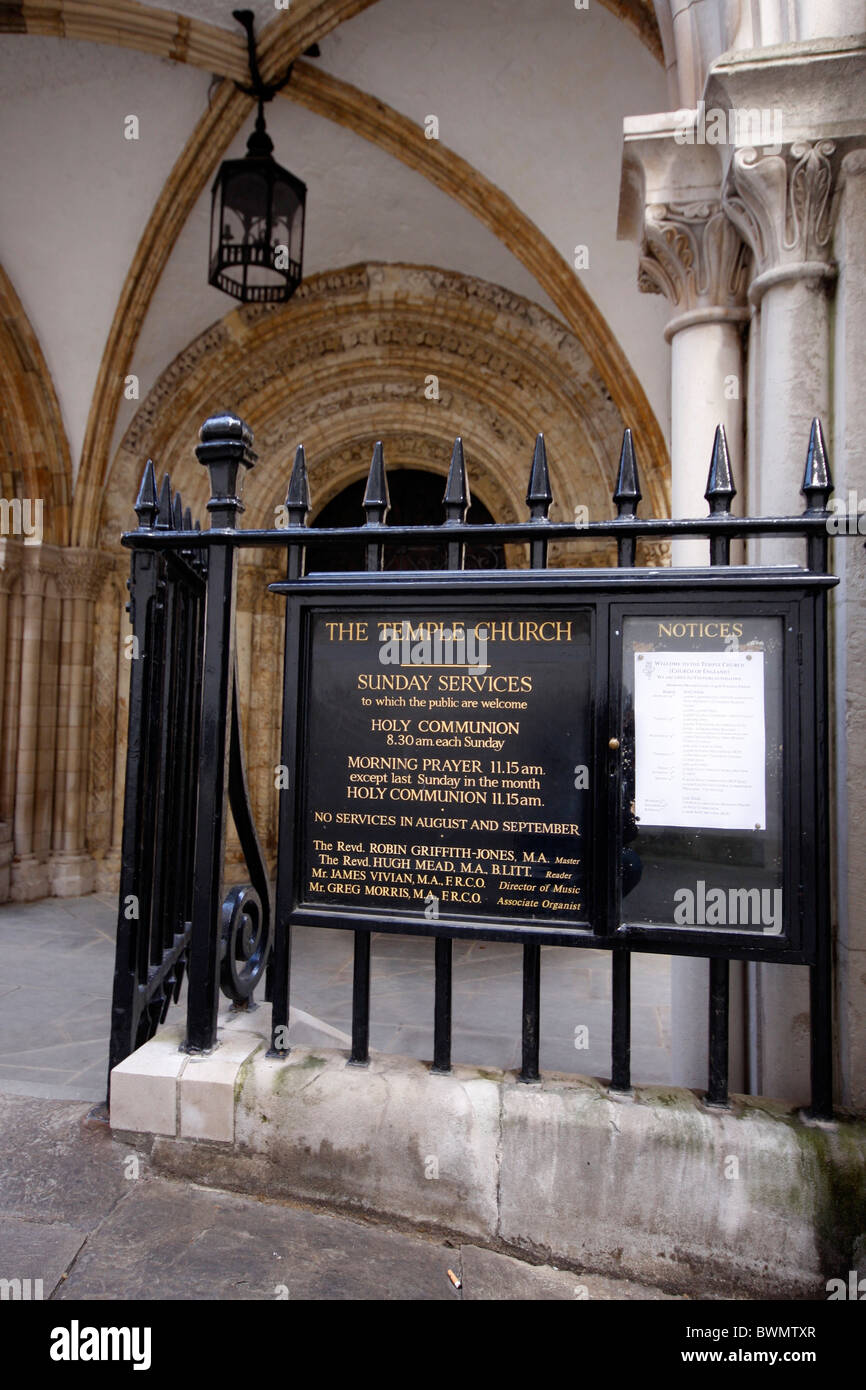 Entrance to The Temple Church in the Middle Temple area, just off London's Fleet Street. - Stock Image