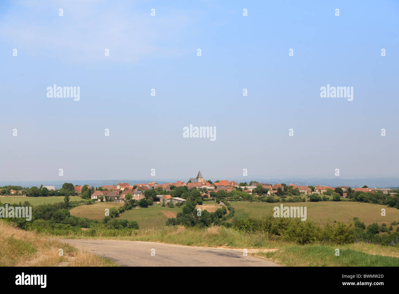 The small village of Reilhaguet in the Lot region of France Stock Photo
