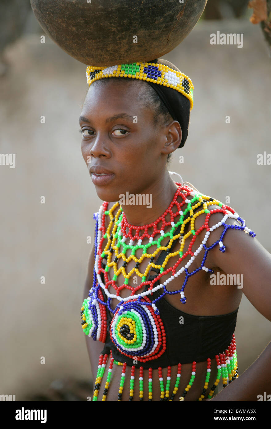 Pretty Zulu Woman With Beads Stock Photo - Download Image