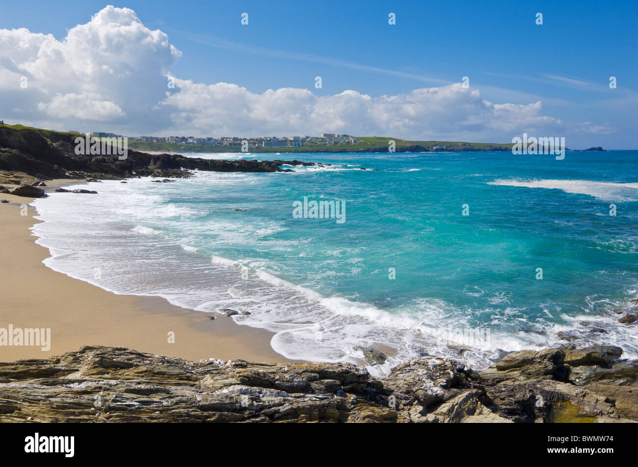The beach at Towan Head at the northern end of Fistral beach Newquay, Cornwall, England, GB, UK, EU, Europe - Stock Image
