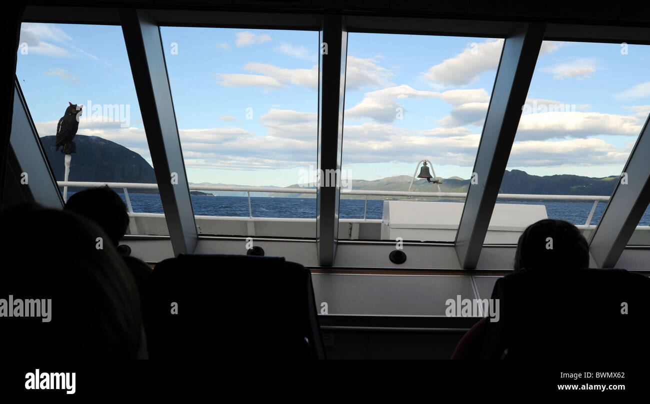 Looking from inside of cruise liner in norwegian fjords Stock Photo