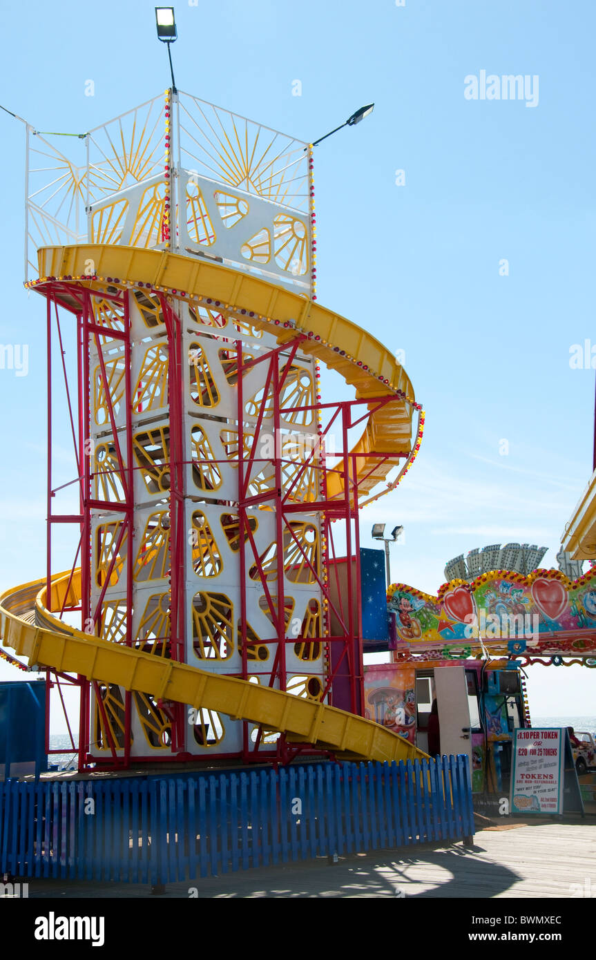 Helter Skelter on the Central Pier in Blackpool on the coast of Lancashire in Northern England - Stock Image