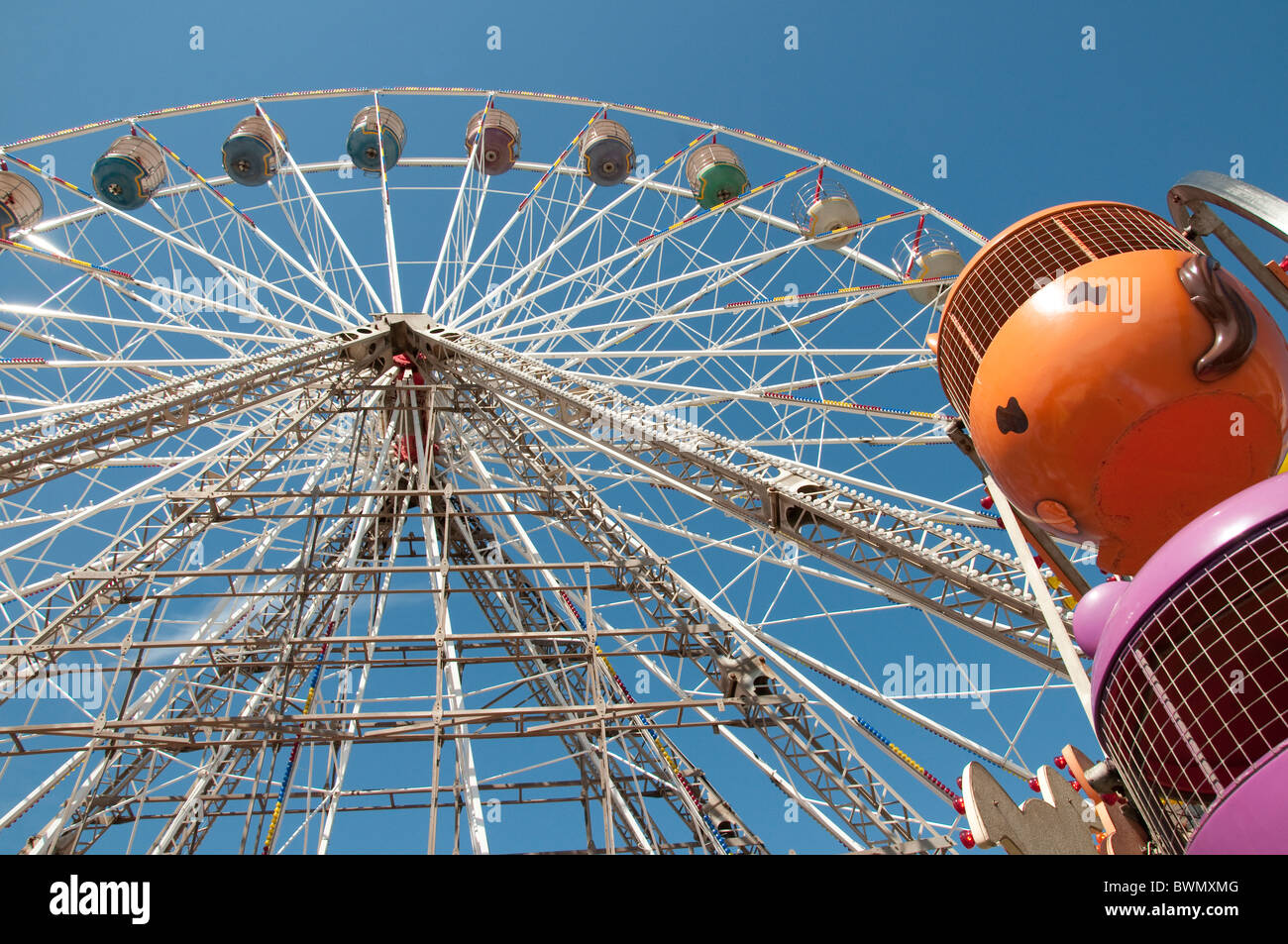 Ferris wheel on the Central Pier in Blackpool on the coast of Lancashire in Northern England - Stock Image