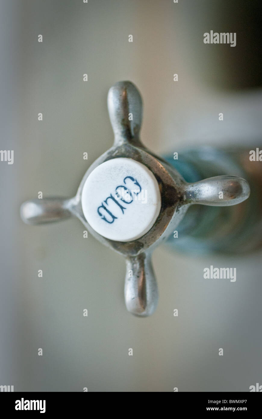 Cold tap handle - Stock Image