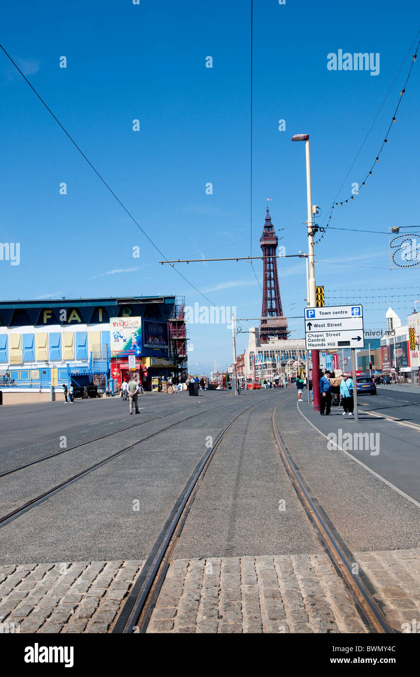 The promenade in Blackpool on the coast of Lancashire in Northern England - Stock Image