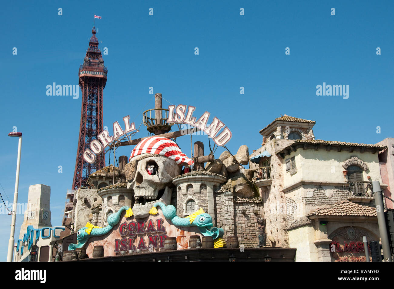 Coral island on the promenade in Blackpool on the coast of Lancashire in Northern England - Stock Image