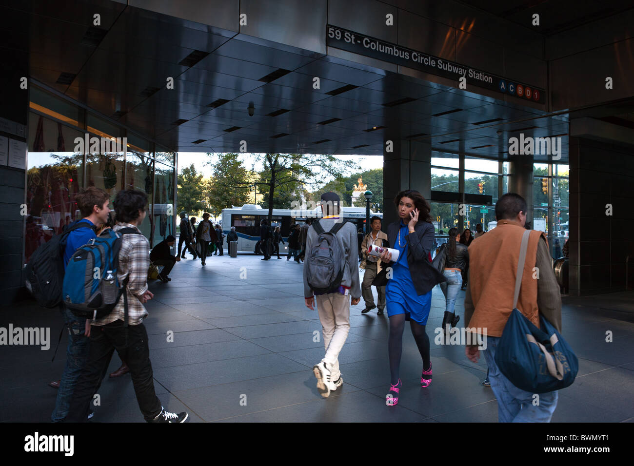 U.S.A., New York, Manhattan, Columbus Circle subway entrance - Stock Image