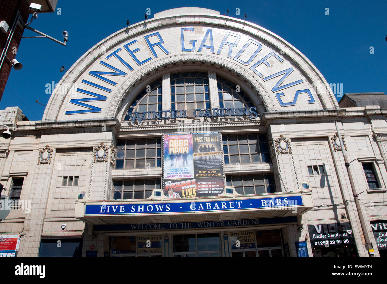 The Entrance facade of the Winter GardensTheatre in Blackpool on the coast of Lancashire in Northern England - Stock Image
