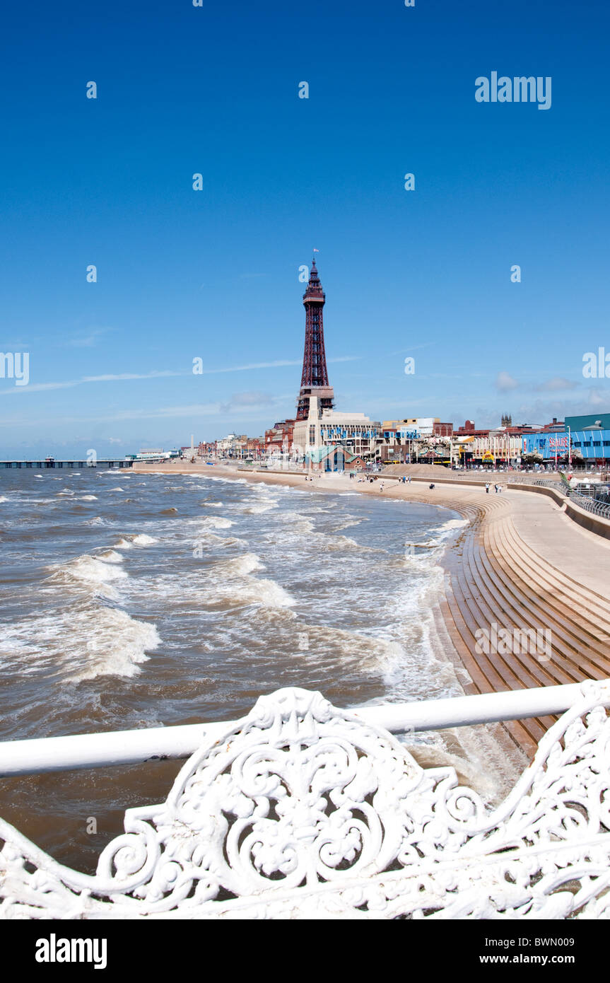 The tower and Beach of Blackpool on the coast of Lancashire in Northern England - Stock Image