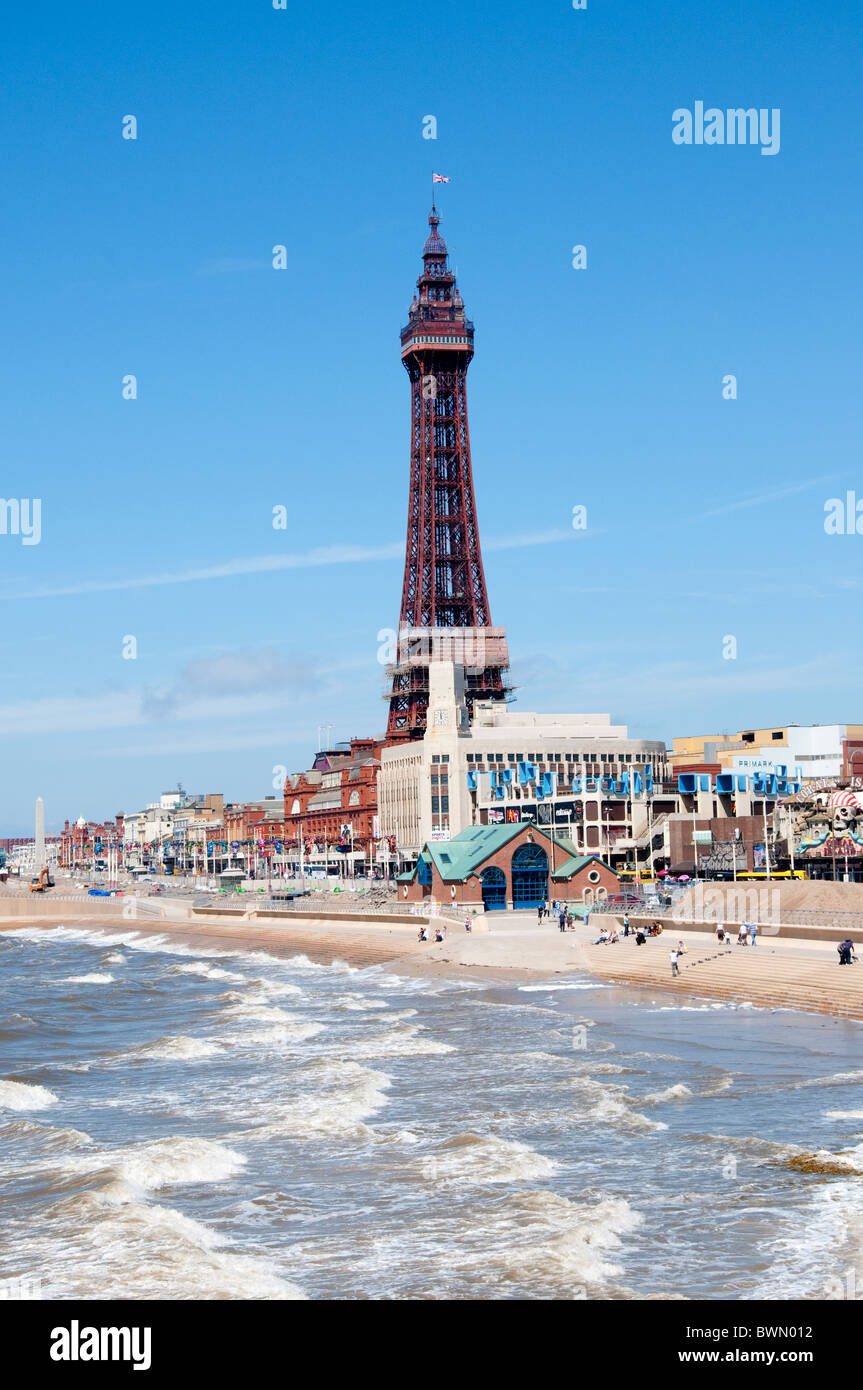 Blackpool with the tower and the beach on the coast of Lancashire in Northern England - Stock Image