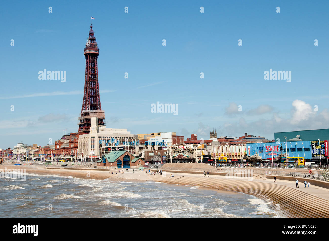 Blackpool the town and beach on the coast of Lancashire in Northern England - Stock Image