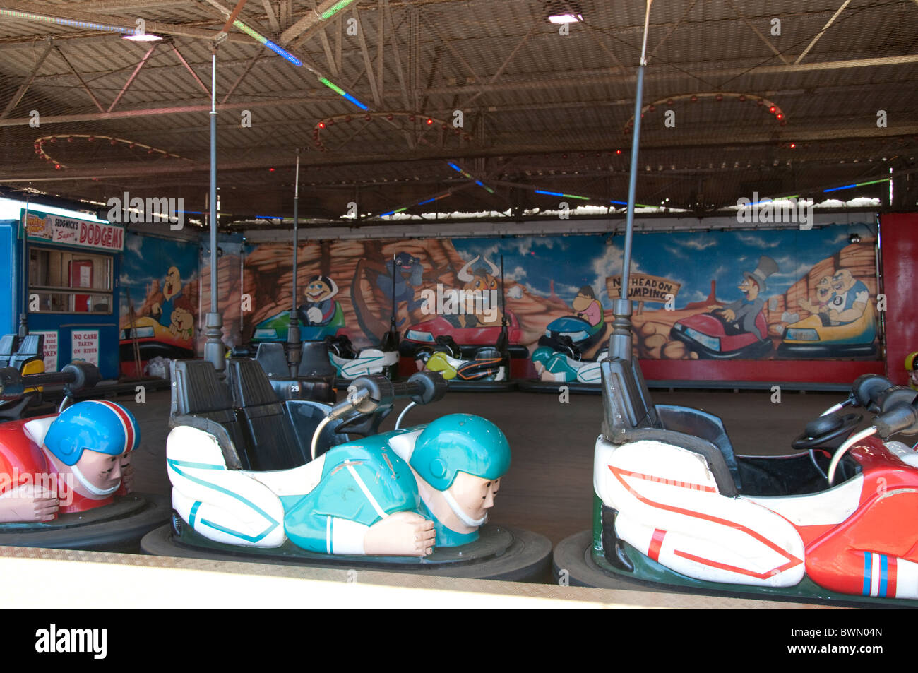 Dodgem cars on the Central Pier in Blackpool on the coast of Lancashire in Northern England - Stock Image