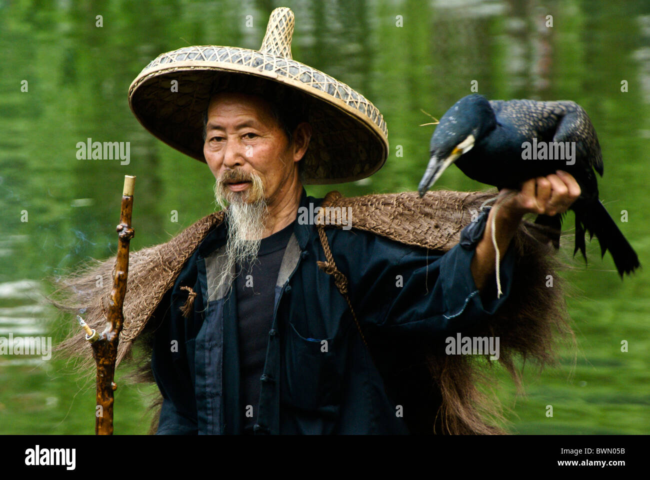 Cormorant fisherman, Yangshuo, Guangxi, China Stock Photo