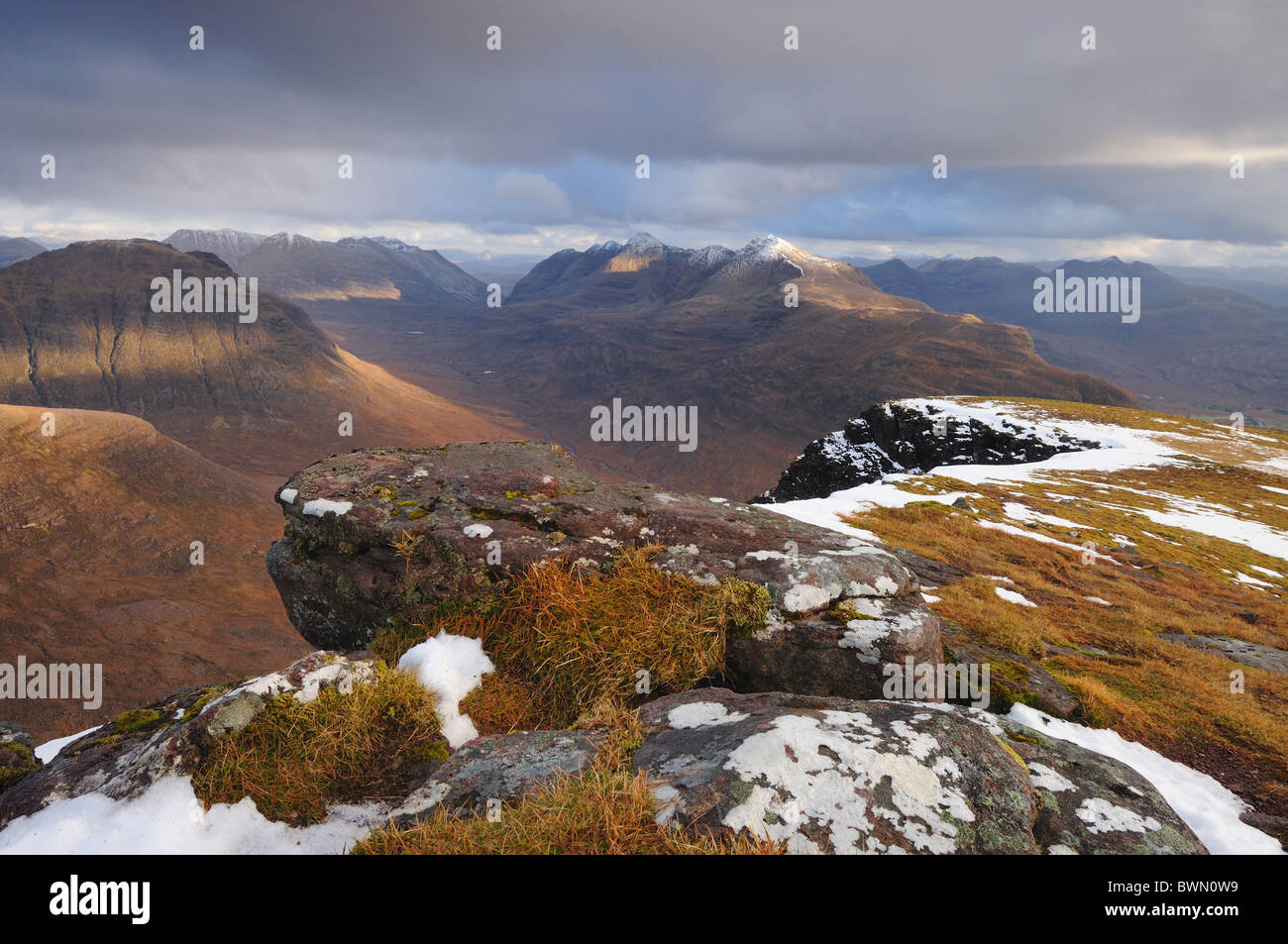 View towards Liathach and Beinn Dearg from Tom Na Gruagaich on Beinn Alligin, Torridon, Wester Ross, Scottish Highlands - Stock Image