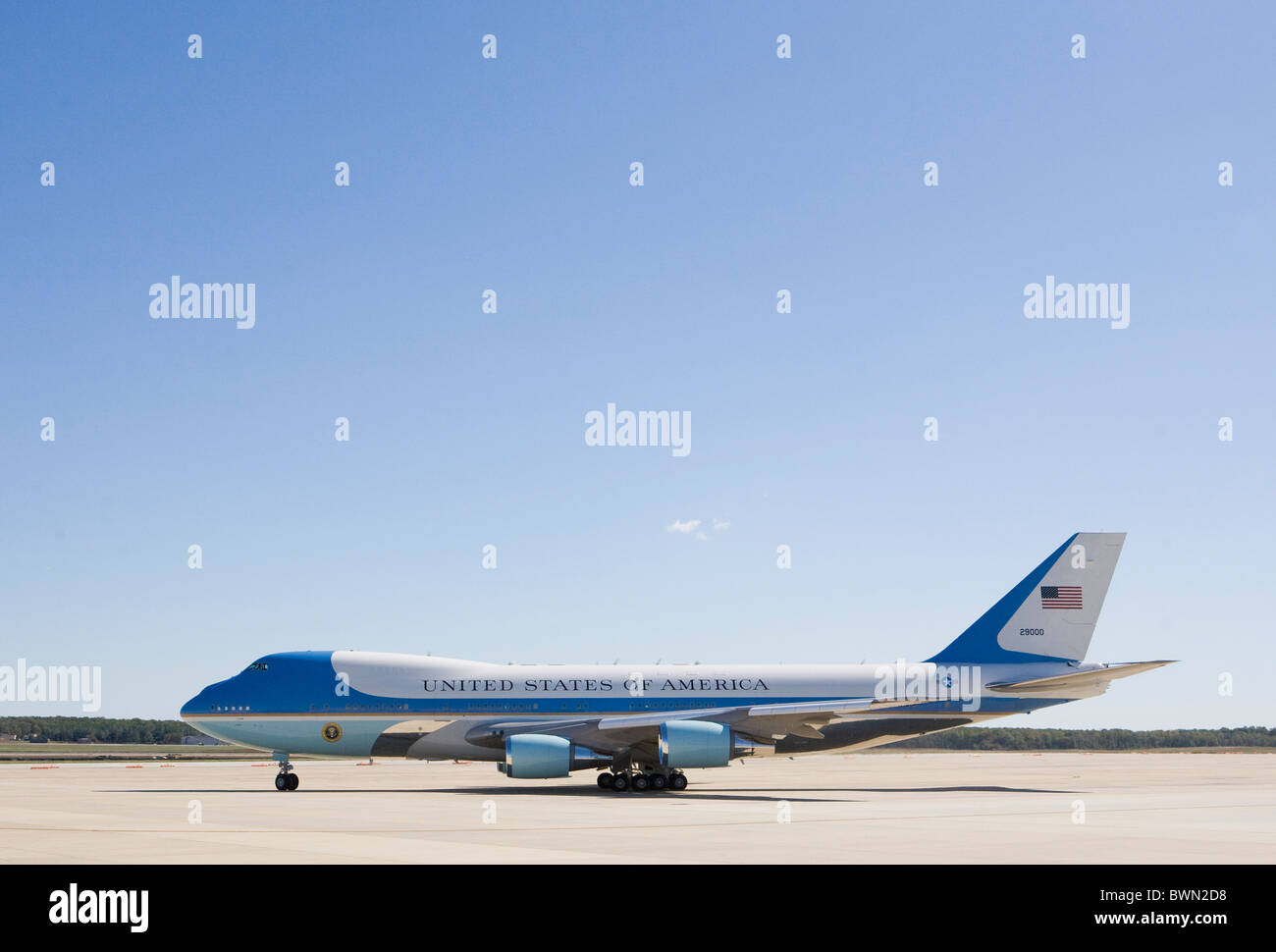 Air Force One on the tarmac at Andrews Air Force Base. - Stock Image