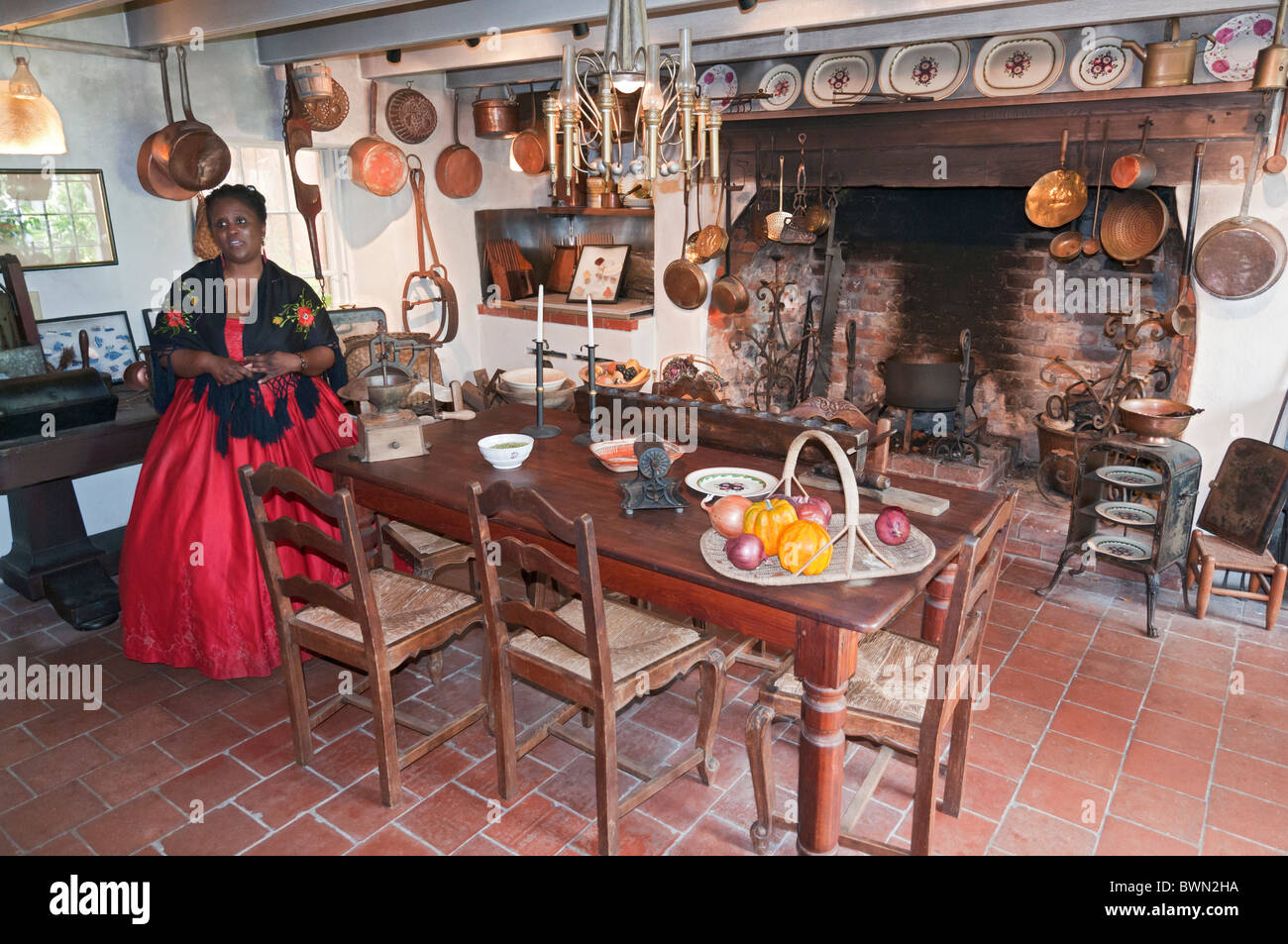 Louisiana, Darrow, Houmas House Plantation And Gardens, 1700u0027s French House  Kitchen, Guide In Period Costume
