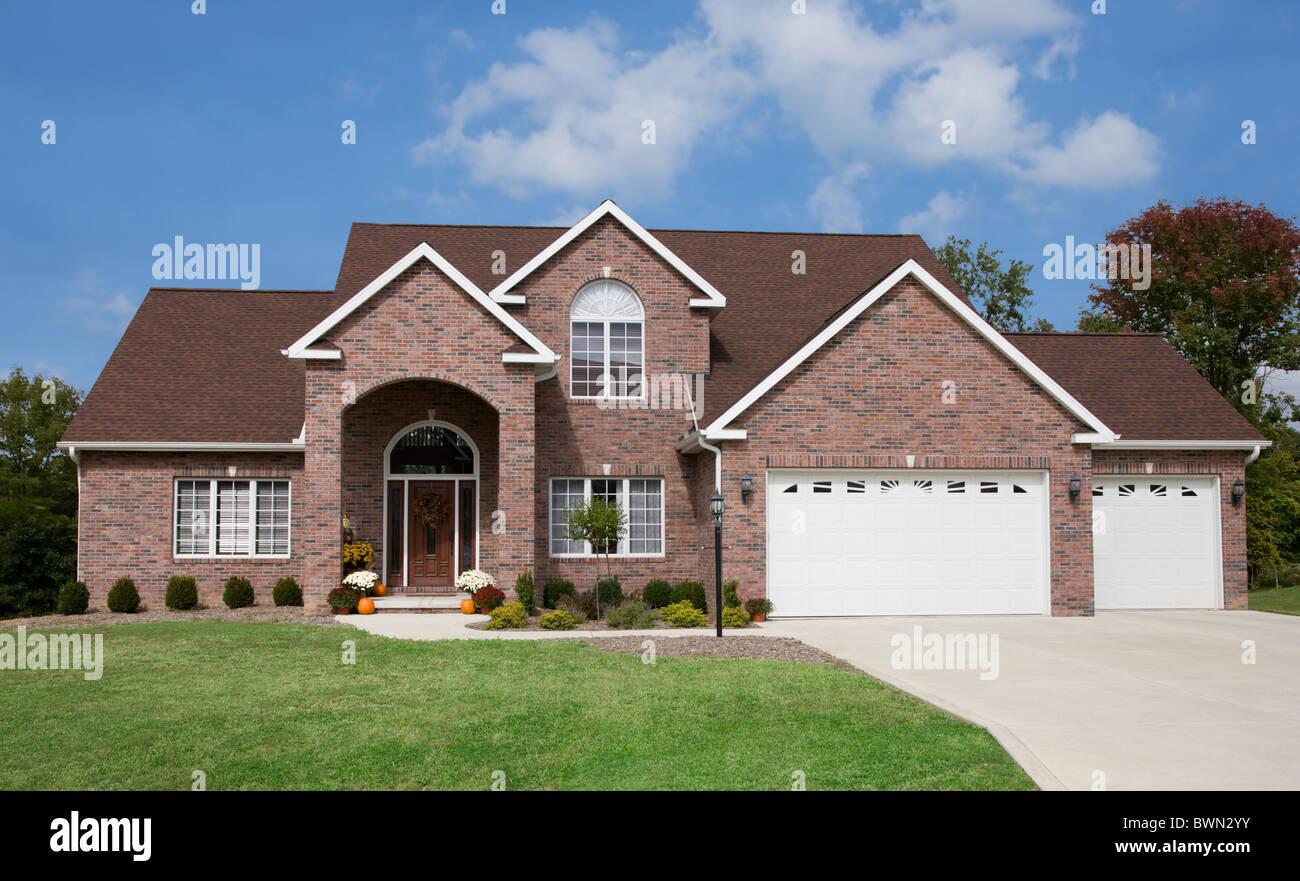 usa illinois metamora exterior of large suburban house stock