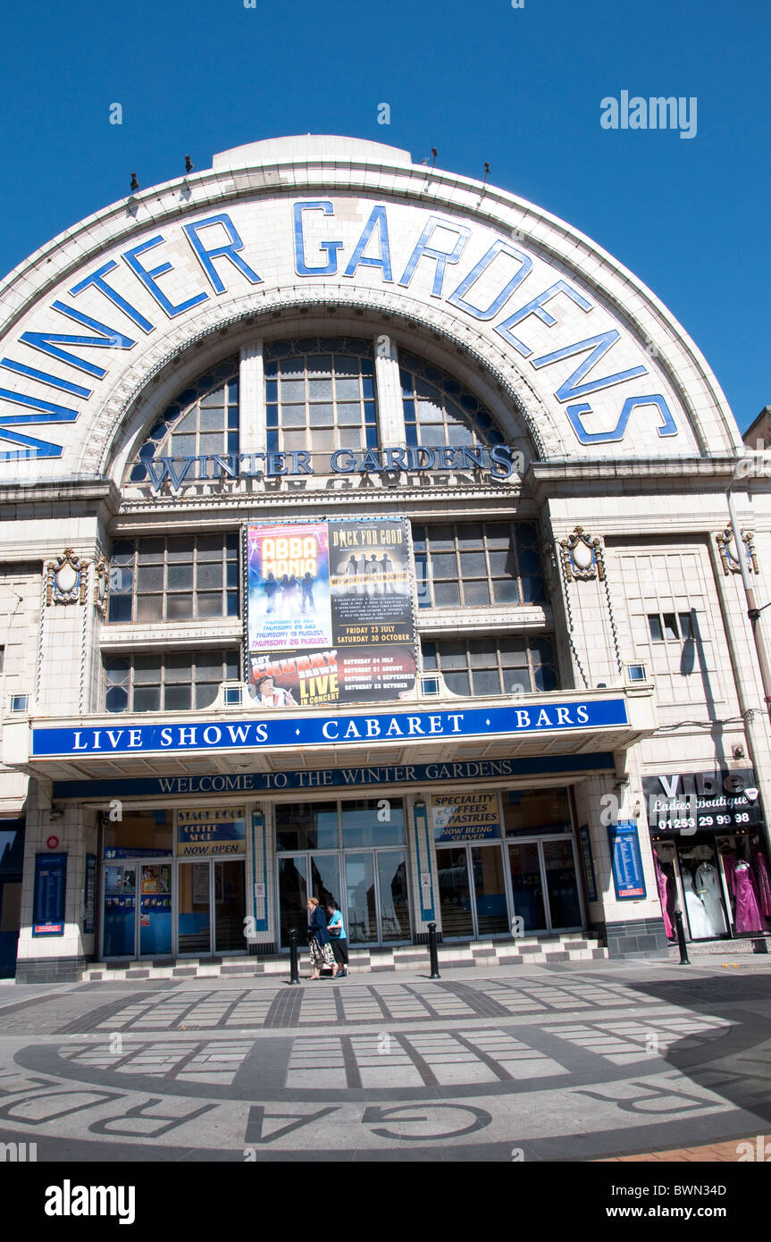 The Entrance facade of the Winter Gardens Theatre in Blackpool on the coast of Lancashire in Northern England - Stock Image