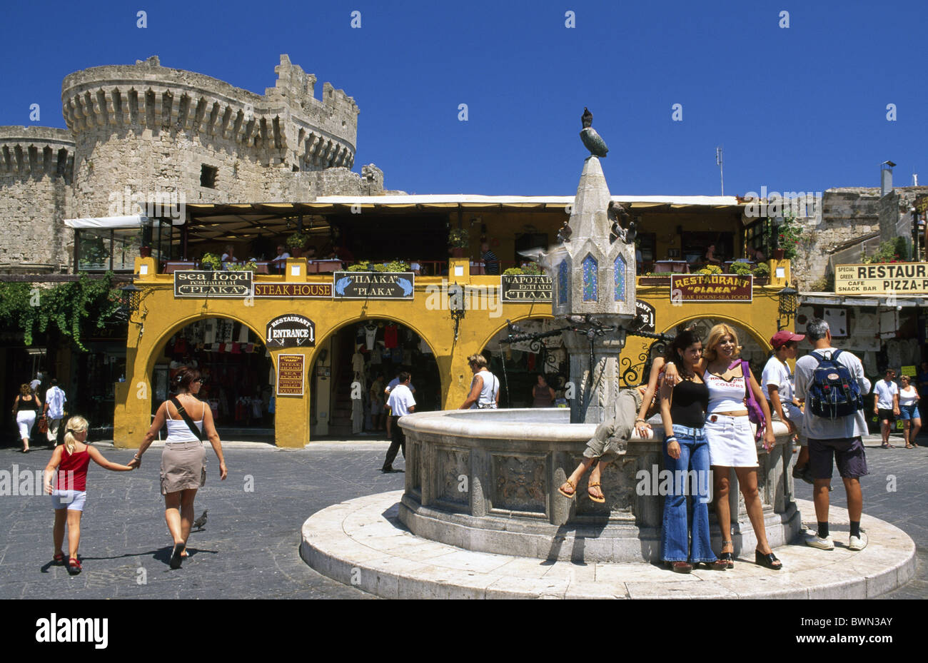 Hippocrates Square Rhodos Town Rhodos Dodekanes Greece Europe island travel Rhodos Town tourism Travel holi - Stock Image