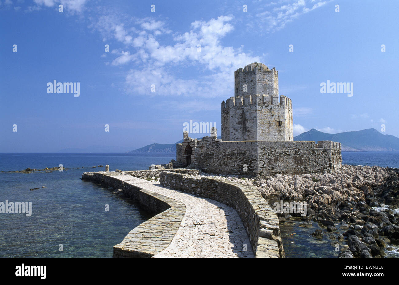 Greece Europe Venetian fortress Methoni Peloponnesus Peloponnese castle Europe wall sea Messenia travel wa - Stock Image