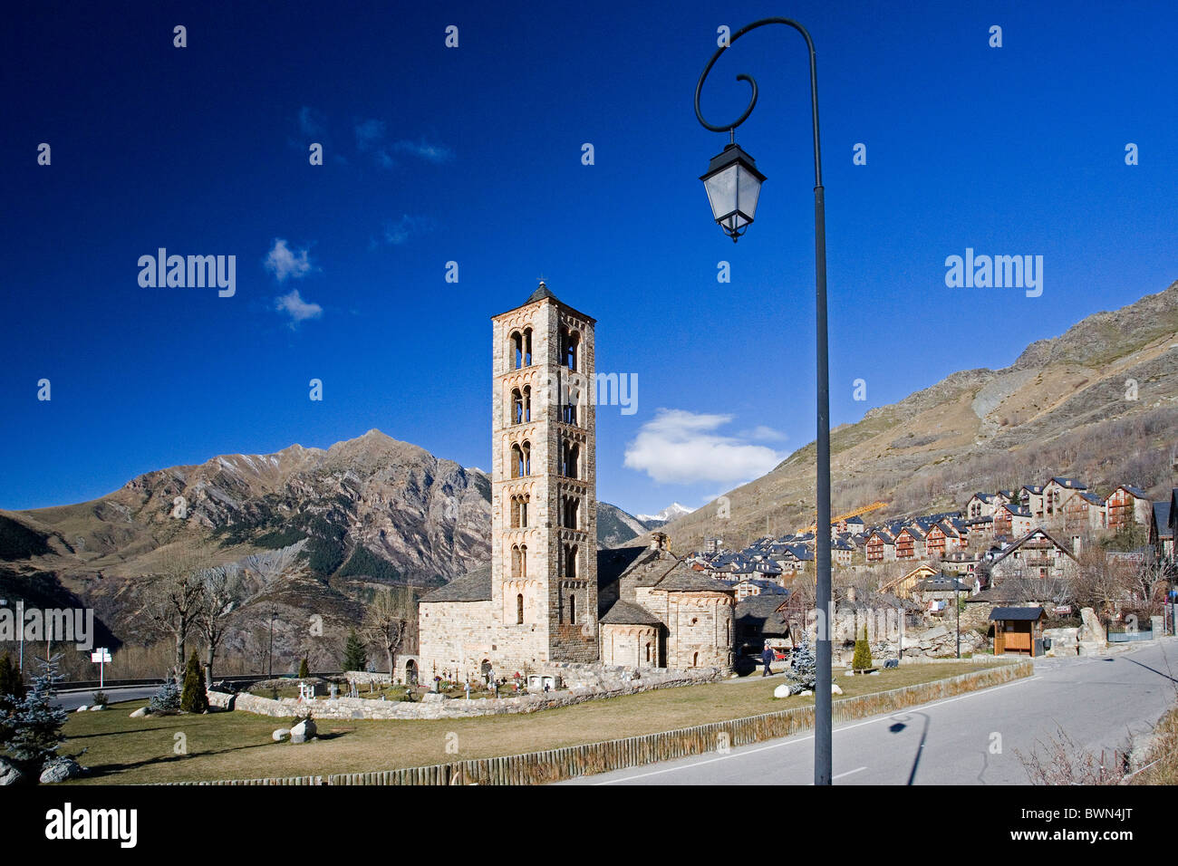 Spain Europe Catalonia Region Sant Climent de Taull church Vall de Boi Romanesque architecture old historic c - Stock Image