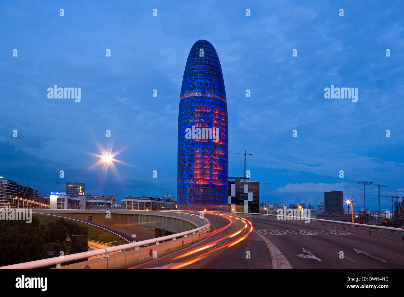 Spain Europe Barcelona City Agbar Tower Torre Agbar Jean Nouvel architecture modern high riser High-rise buil - Stock Image