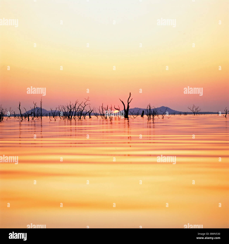Africa Zimbabwe Lake Kariba Rhodesia sunset reservoir trees water twilight dusk evening-sun African inner- - Stock Image