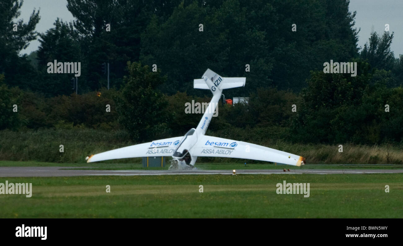 Glider Crash at airshow - cockpit crumpled in head on collision - pilot survived - Stock Image