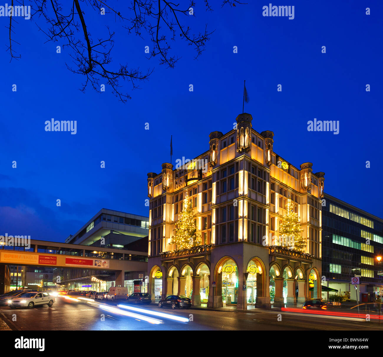 The 4711 House in Cologne with Christmas Decoration - Stock Image