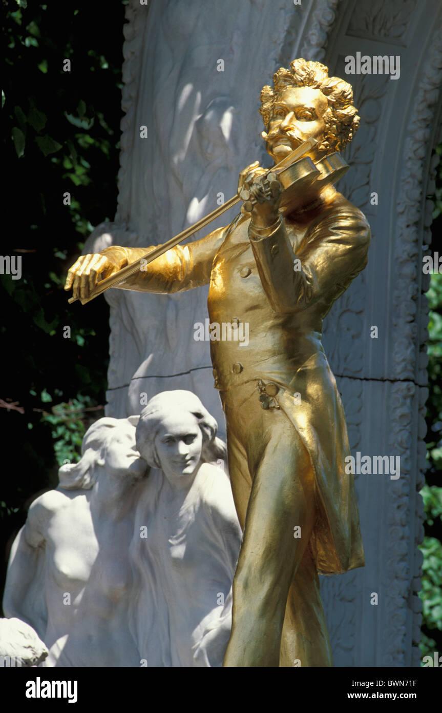 Austria Europe Johann Strauss II Statue Vienna golden sculpture waltz king art music history culture compo Stock Photo