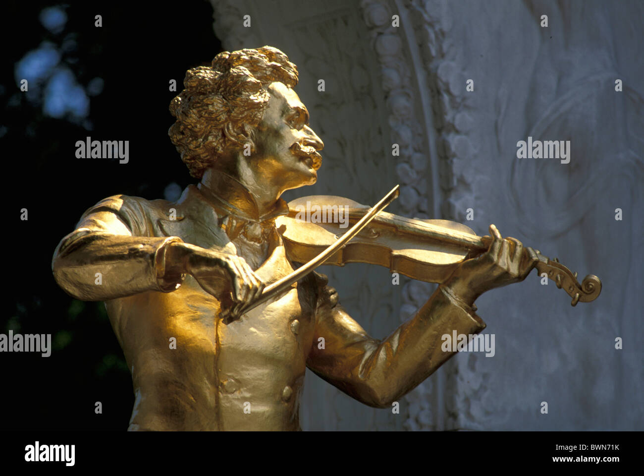 Austria Europe Johann Strauss II Statue Vienna golden sculpture waltz king art music history culture compo Stock Photo