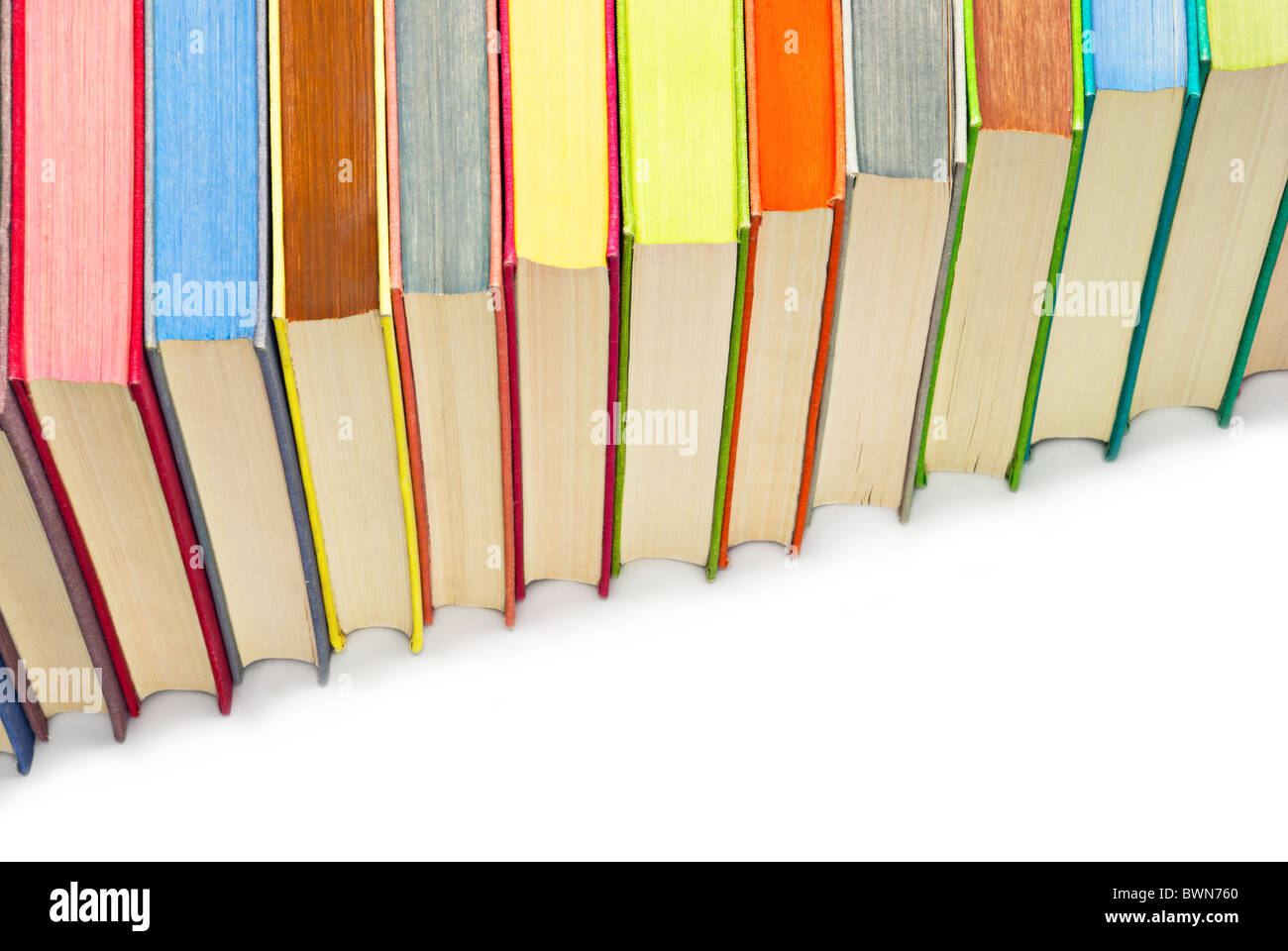lot of colored hard covered used books stock photo 33043416 alamy