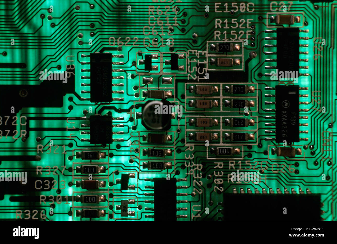 Integrated circuit board from a computer. - Stock Image