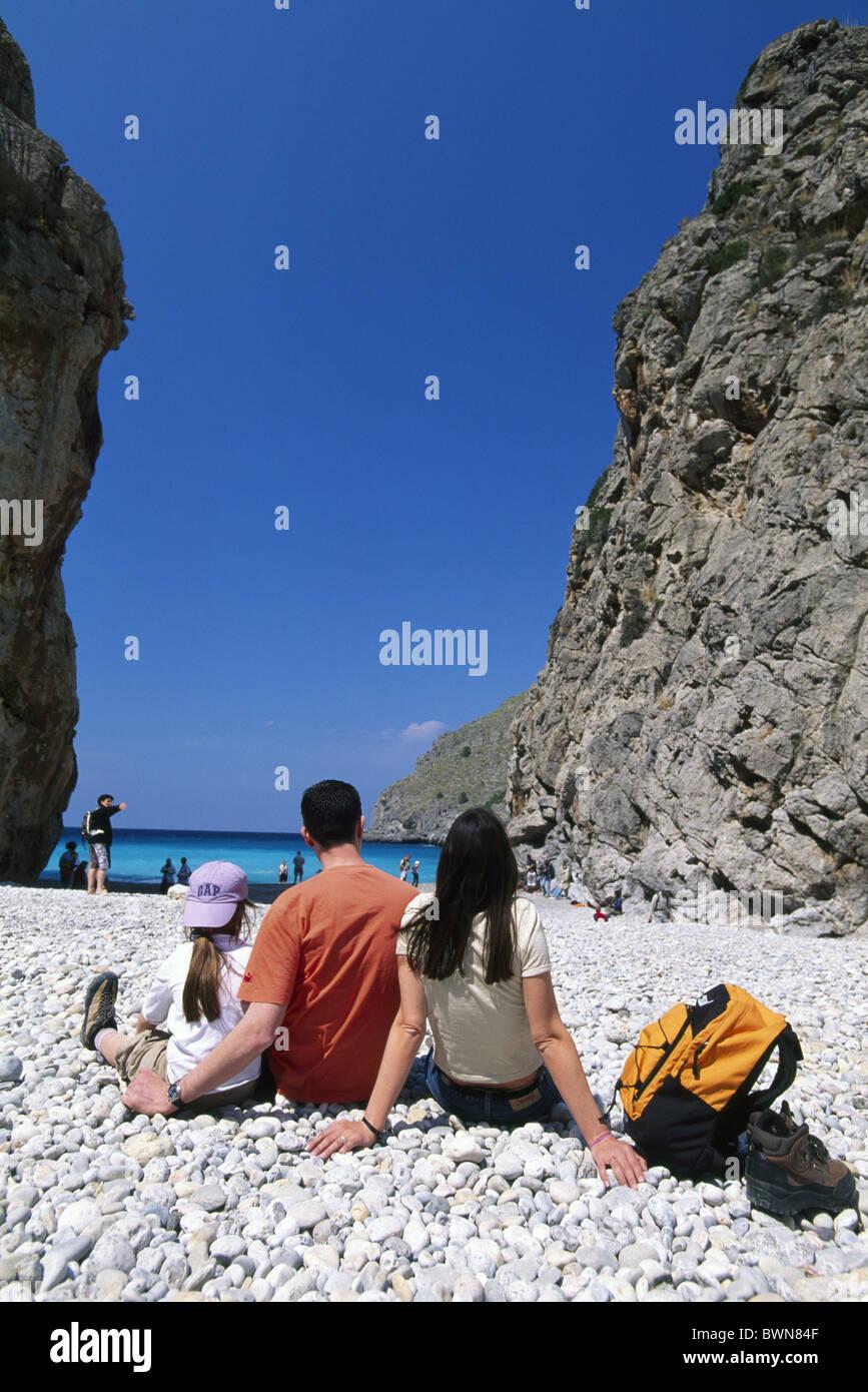 Sa Calobra Majorca Balearic islands Spain Europe travel holiday holidays vacations Europe Mediterranean sea - Stock Image