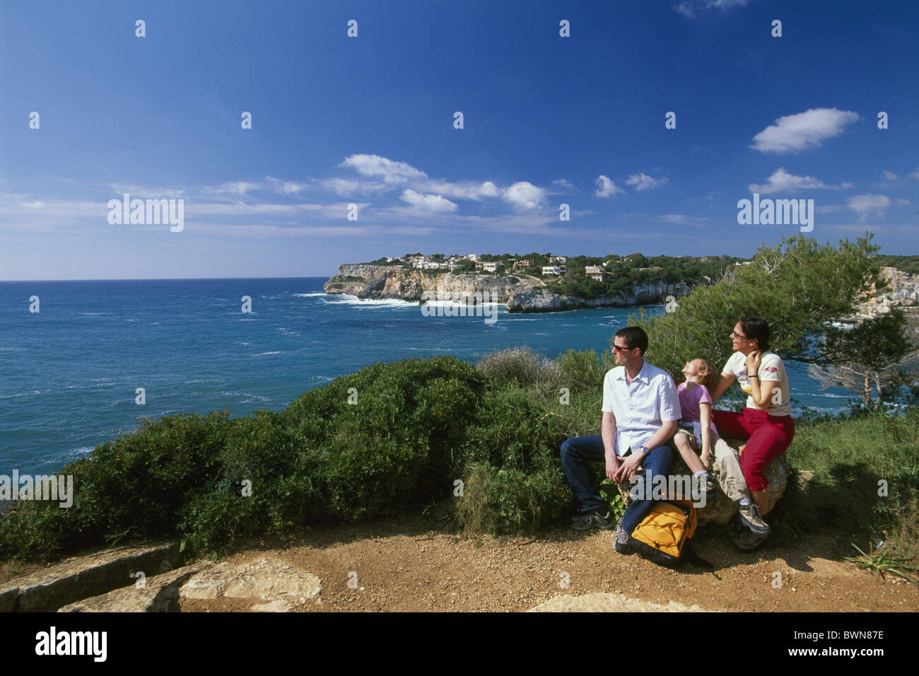 Es Pontas Majorca Balearic islands Spain Europe Cala Santanyi Es Pontas Europe family island coast sea Medi - Stock Image