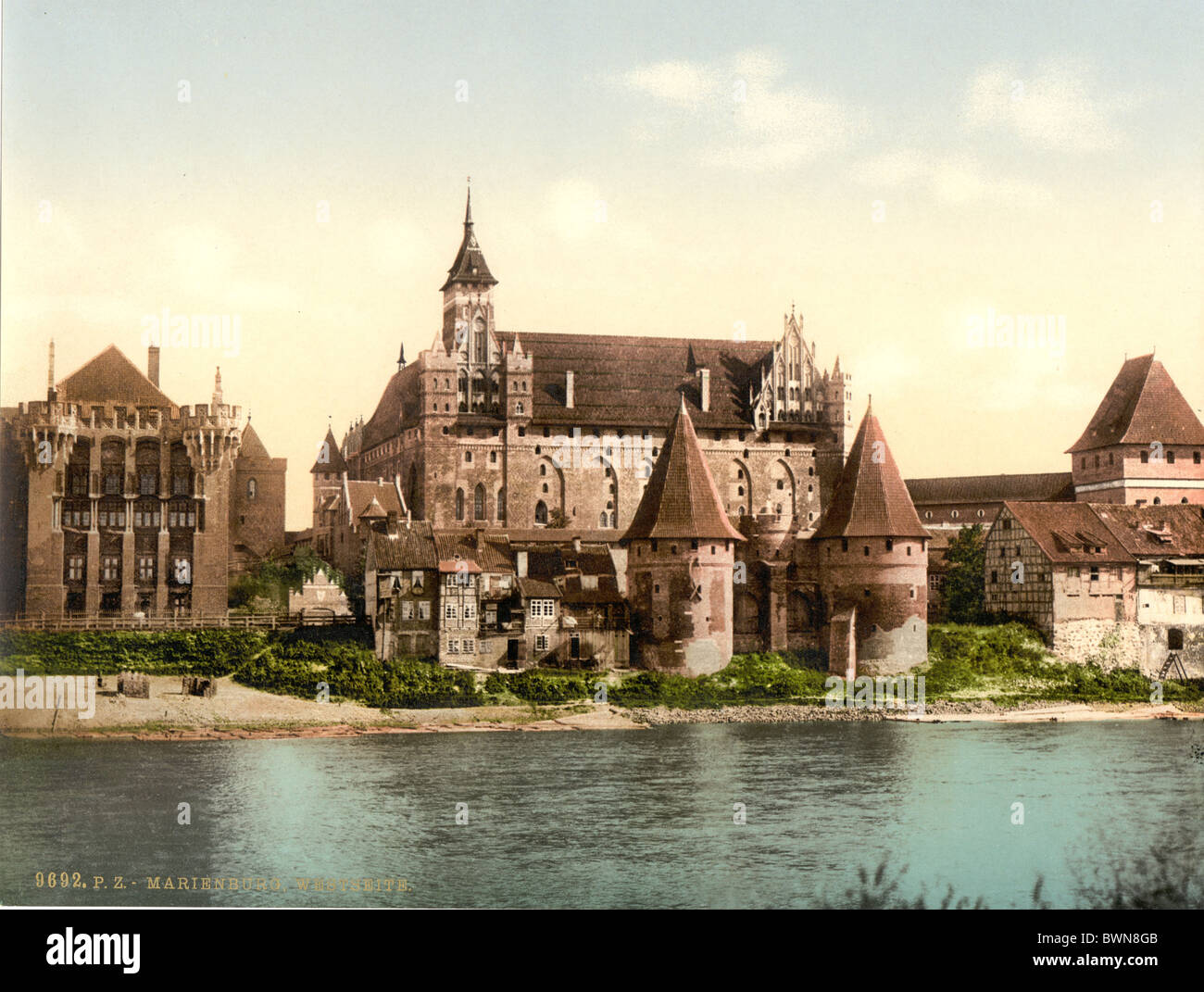 Marienburg west side Prussia formerly Germany Europe Malbork Poland Photochrom about 1900 history historical - Stock Image
