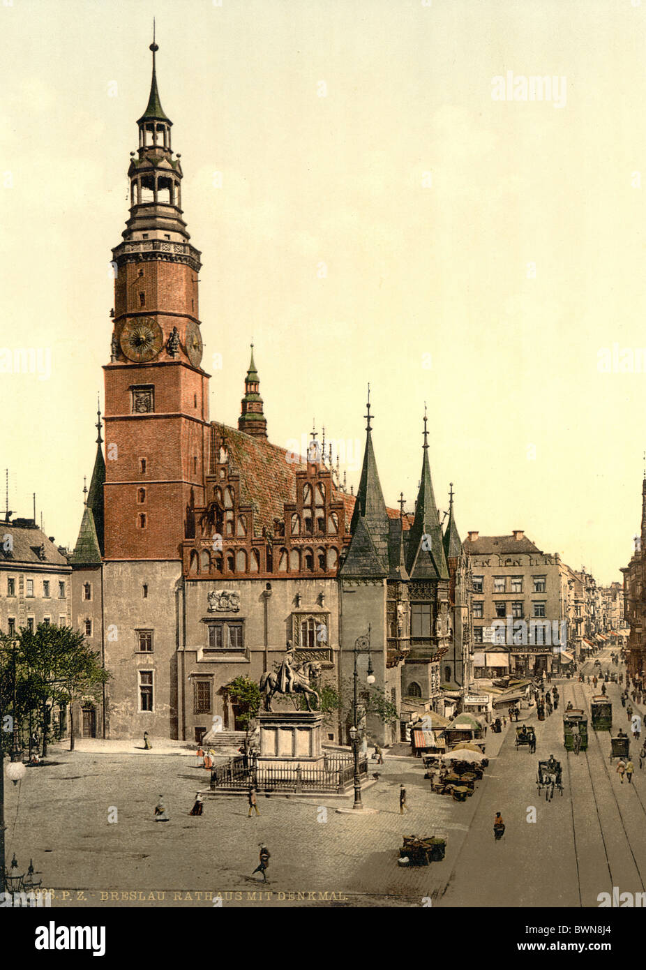 Breslau Town hall Silesia Brick Gothic architecture square formerly Germany Europe German Empire Poland Phot - Stock Image