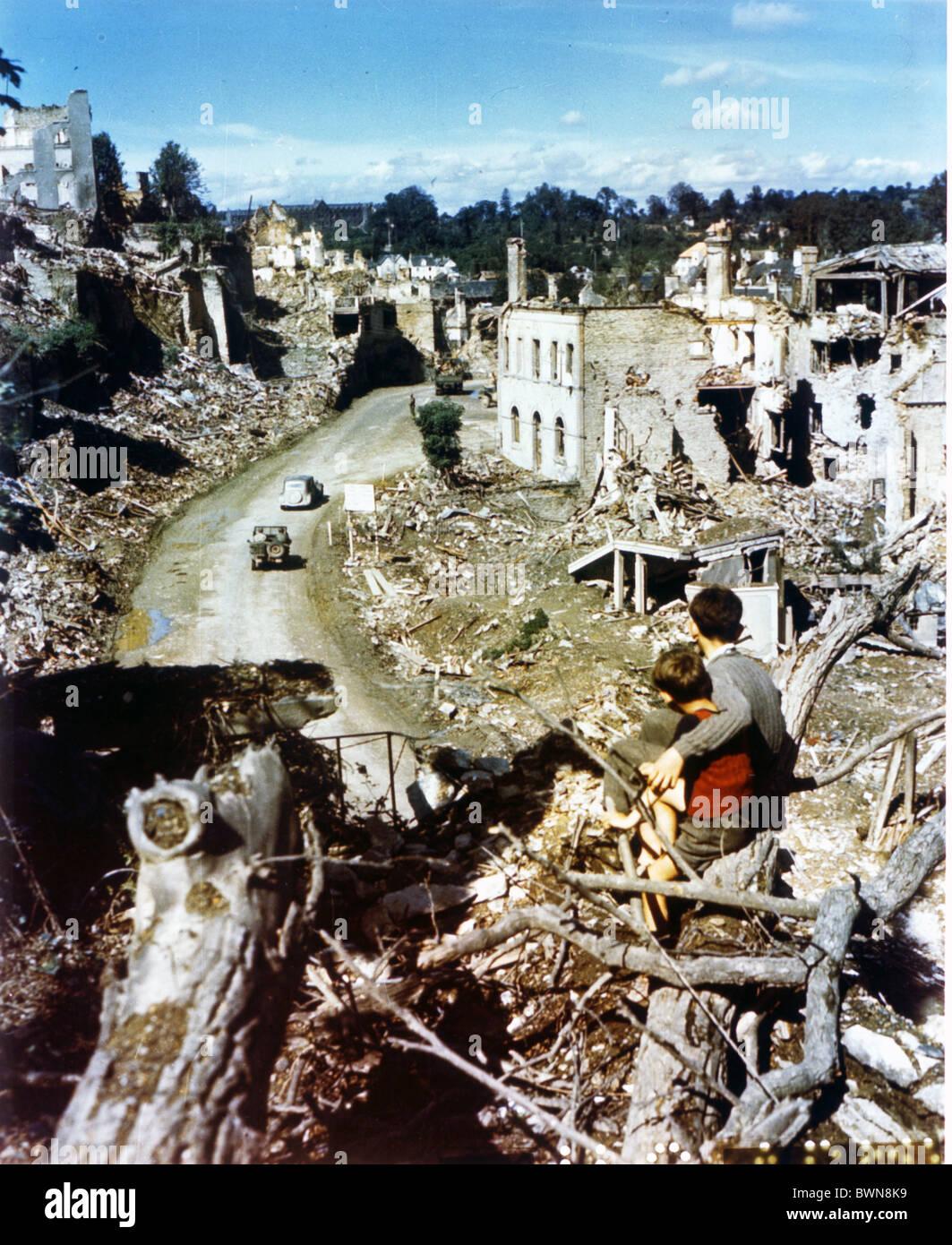 France Europe Sain Lo Normandy July-20-1944 history historical historic World War II Second World War WW2 d - Stock Image