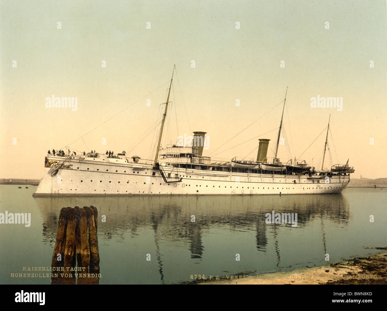SMY Hohenzollern II leaving the harbor Venice Italy Europe Photochrom about 1900 history historical historic - Stock Image