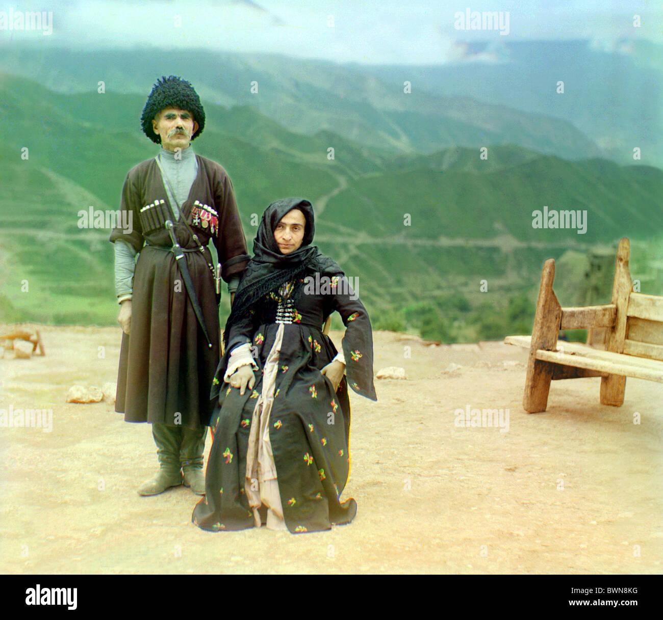 Dagestani types Dagestan Russian Empire Gunib Russia between 1905 and 1915 Sergey Mikhaylovich Prokudin-Gorsky - Stock Image