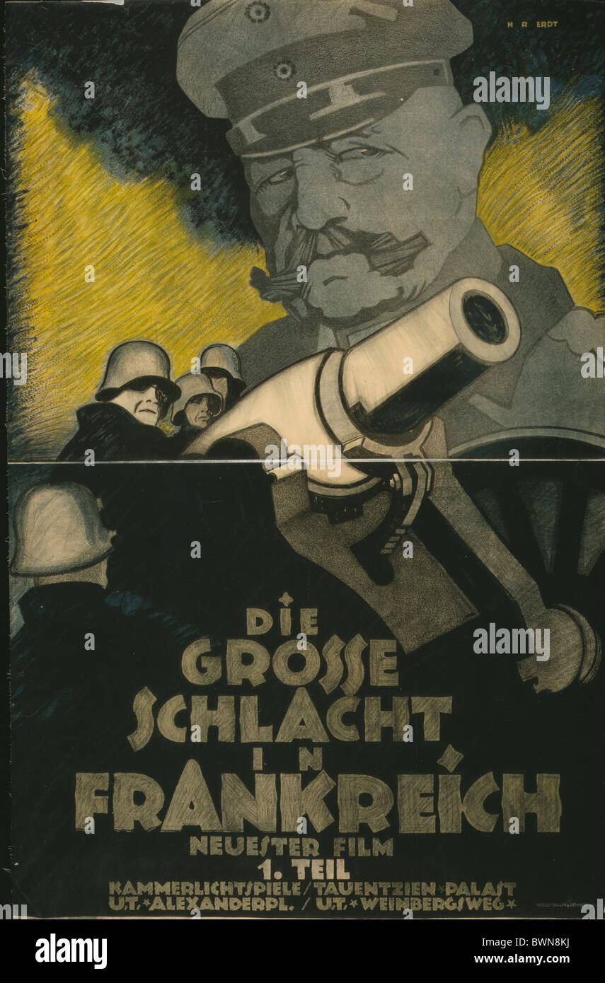 Great Battle in France 1918 Poster movie film advertising German soldiers cannon General Paul von Hindenburg - Stock Image