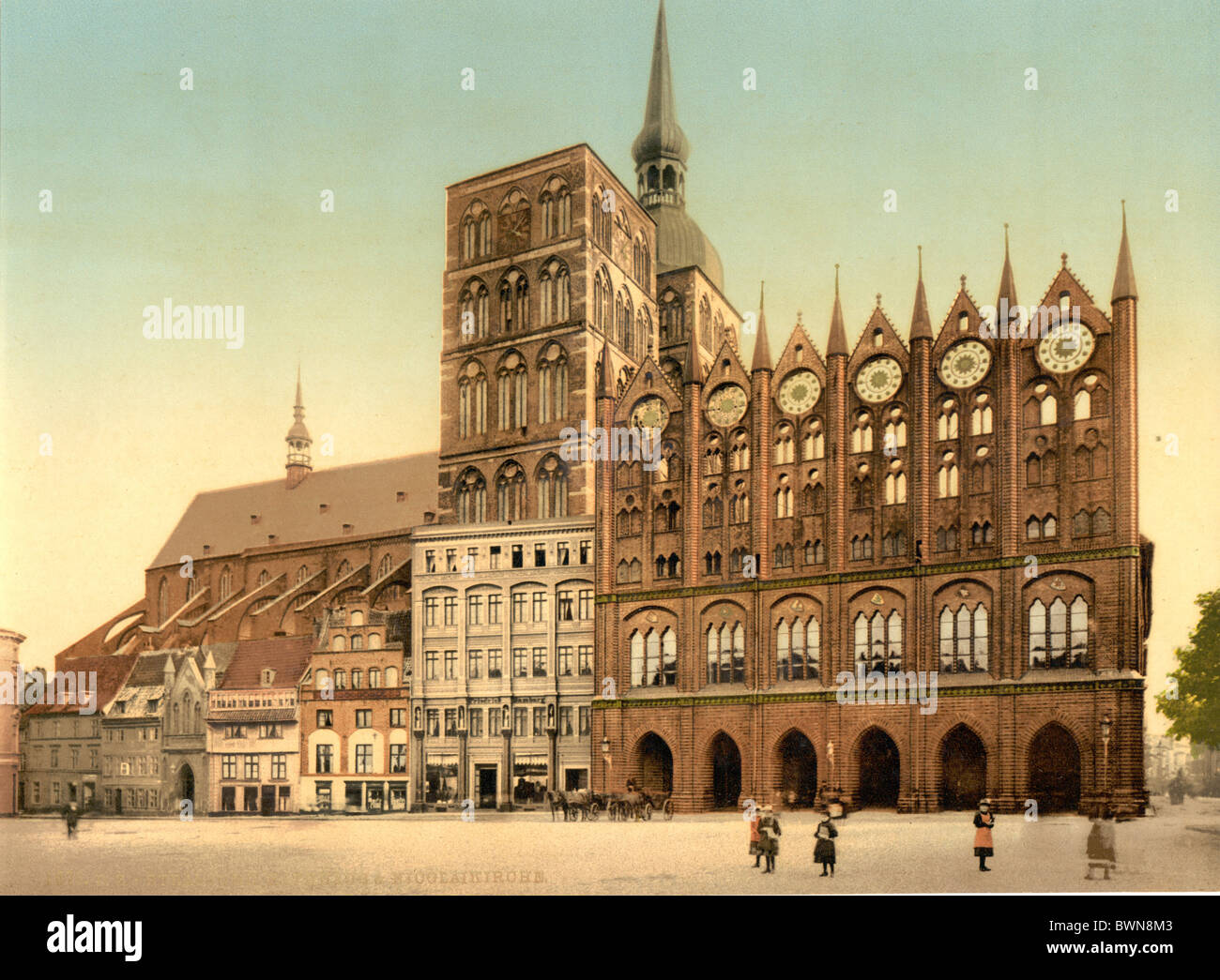 Stralsund Pomerania Germany Europe German Empire Photochrom about 1900 history historical historic Town hall - Stock Image