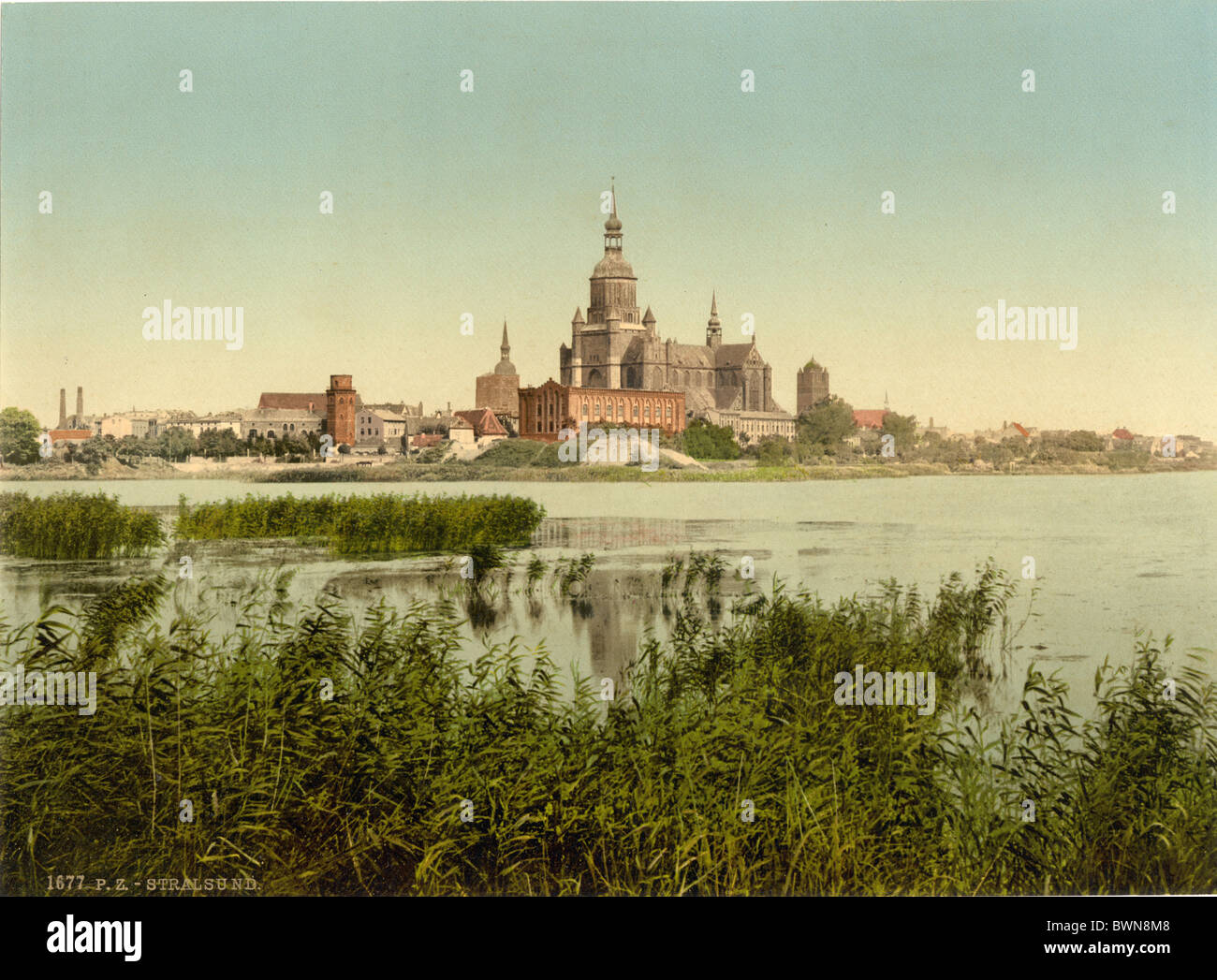 Stralsund Pomerania Germany Europe German Empire Photochrom about 1900 history historical historic old town - Stock Image