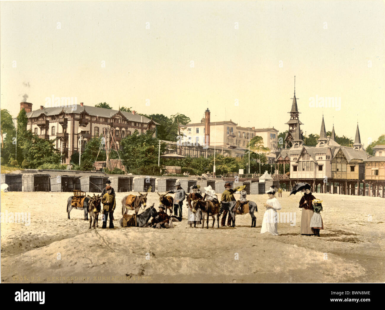 Pier Heringsdorf Usedom Pomerania Germany Europe German Empire Photochrom about 1900 history historical his - Stock Image