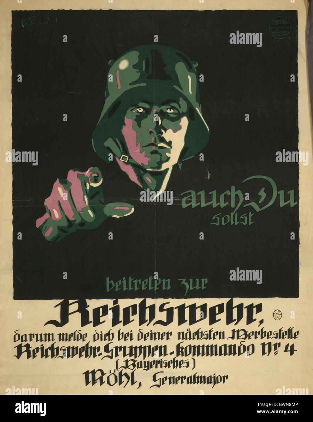 Reichswehr 1919 Weimar Republic Mohl General major Propaganda poster recruitment recruiting advertising mili - Stock Image