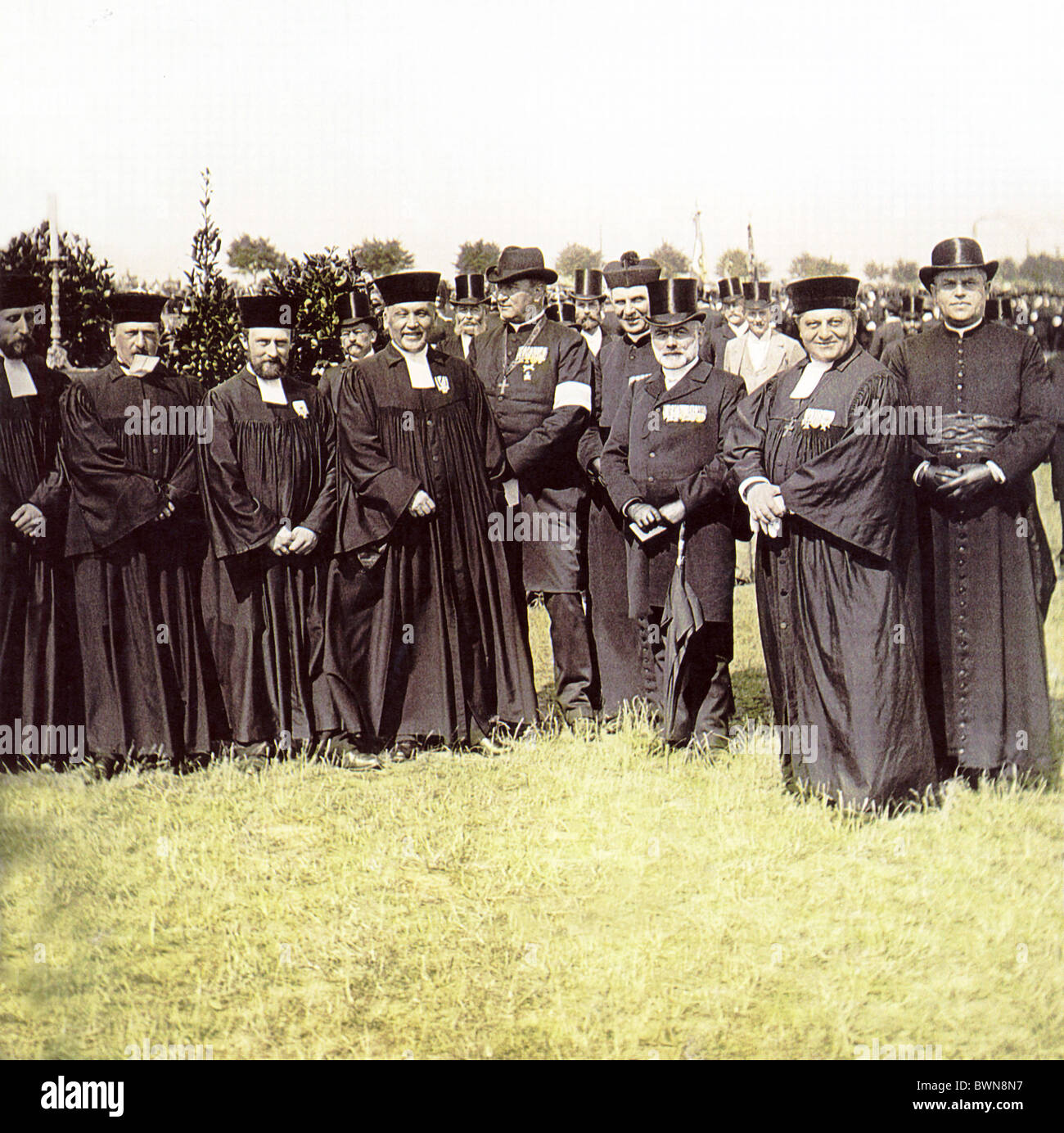 1896 Berlin army preachers group civil servants Tempelhofer Feld history historical historic preacher relig - Stock Image