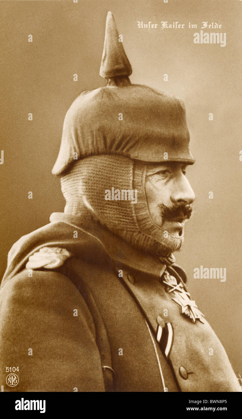 William II German Emperor near 1916 history historical historic prussian Pickelhaube spiked helmet side-face - Stock Image