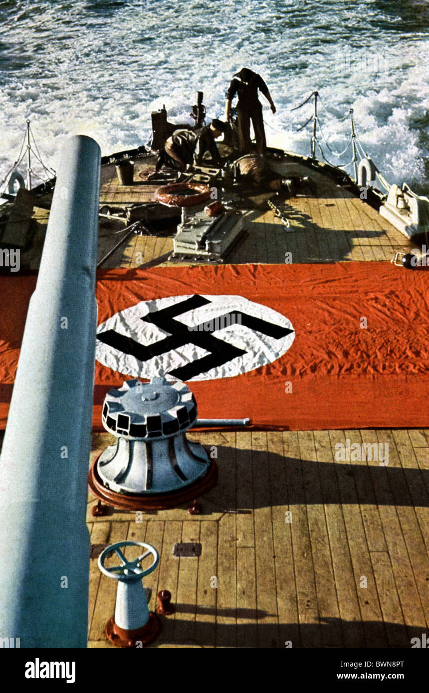Second World War Nazi Germany Europe battle ship stern WW2 navy marine Kriegsmarine Wehrmacht flag banner - Stock Image