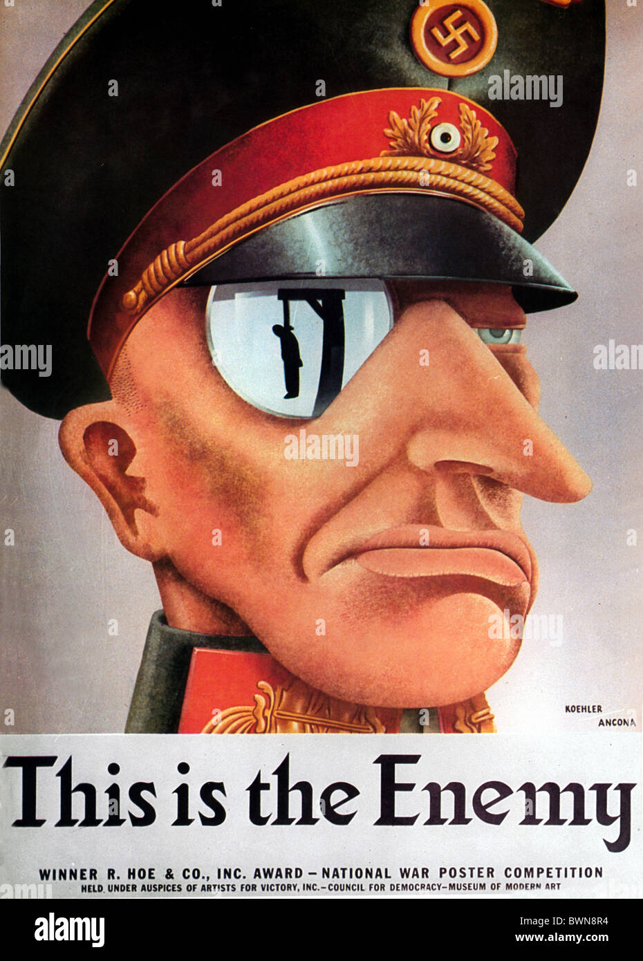 US poster 1942 WW2 history historical historic Second World War Nazi German Wehrmacht Enemy propaganda Germ Stock Photo