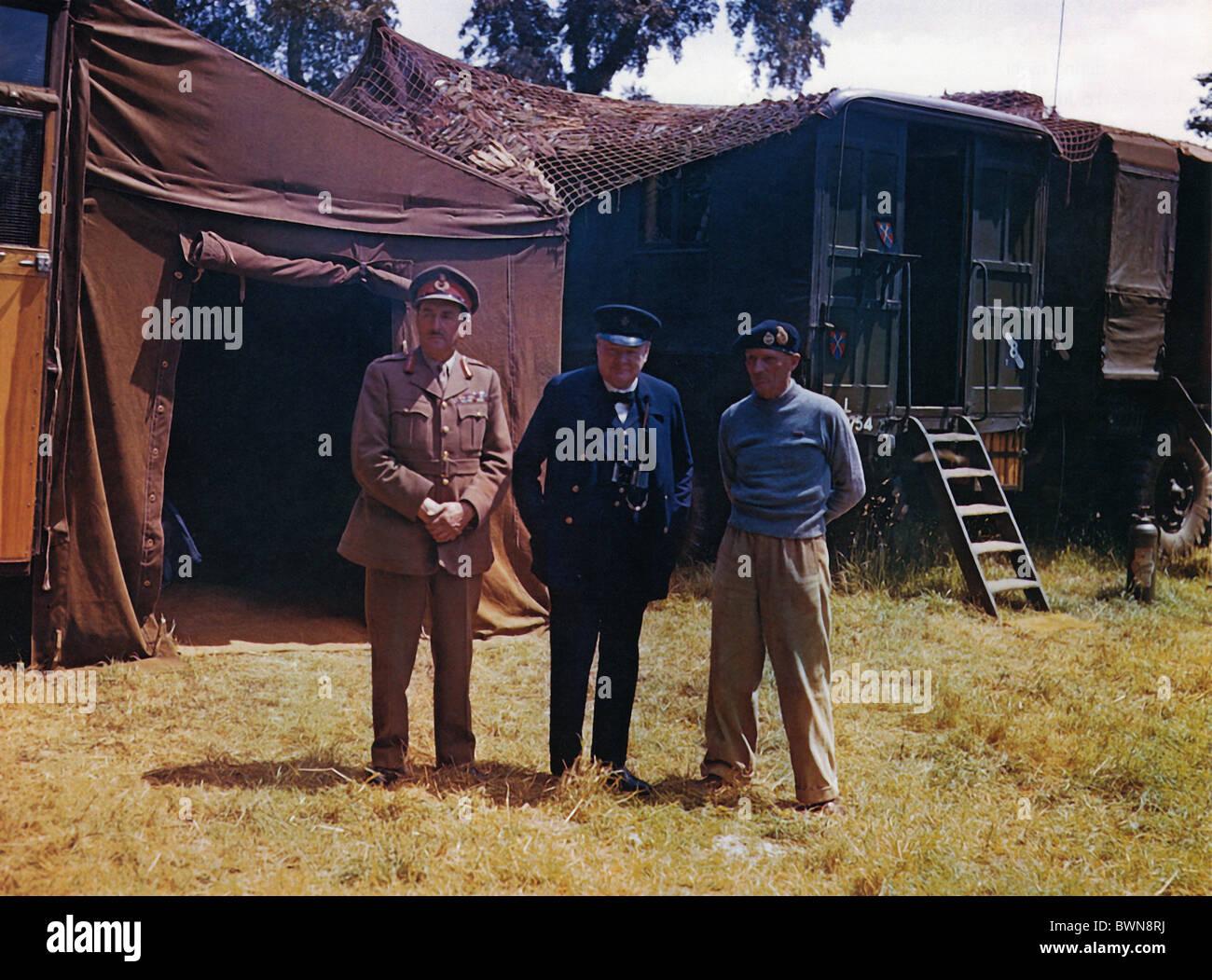 1944 Operation Overlord Winston Churchill Field Marshal Alan Brooke General Montgomery Head quarter France Euro - Stock Image